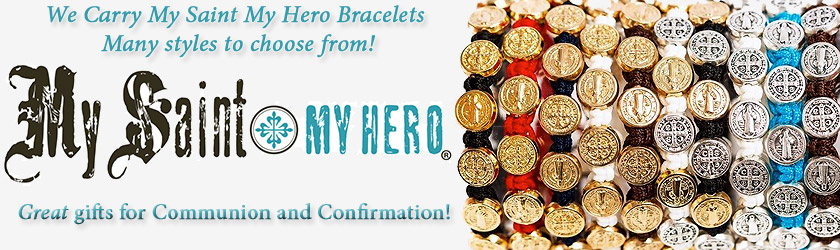 We Carry My Saint My Hero Bracelets, Many styles to choose from! Great gifts for Communion and Confirmation!