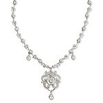 Sterling Silver CZ Chandelier Necklace