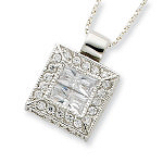 Sterling Silver CZ Square Necklace