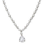 Sterling Silver Pear CZ Necklace