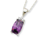 Sterling Silver Purple CZ Necklace