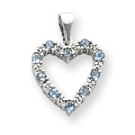 14k Gold Diamond Aquamarine Heart Pendant