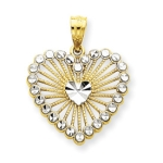 14k Rhodium Diamond-cut Heart Pendant