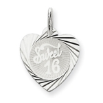Sterling Silver Sweet Sixteen Heart Pendant